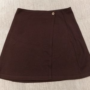 Wool wrap skirt Small Benetton chocolate espresso